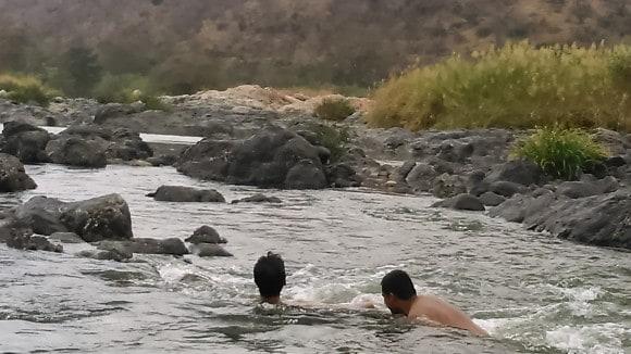 Swimming in Mekedatu Sangam