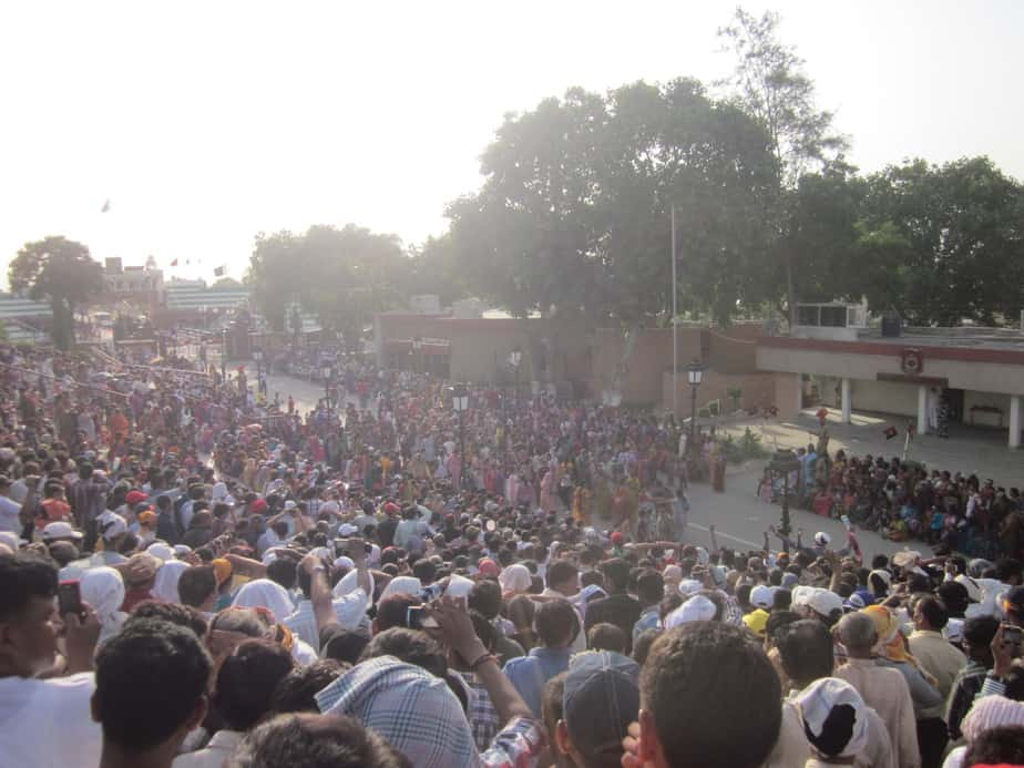 Crowd celebrating patriotism at Wagah Border