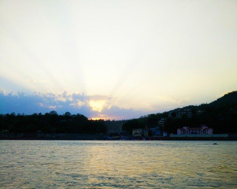 Sunset at Ganges from Pramarth Niketan Ashram - Evening Ganga Arti